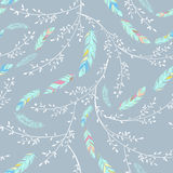 Seamless pattern with feathers and leaves . Stock Photos