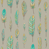 Seamless pattern with feathers Royalty Free Stock Photos