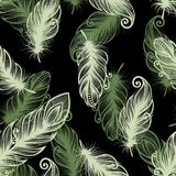 Seamless Pattern with Feathers (Vector Royalty Free Stock Photography