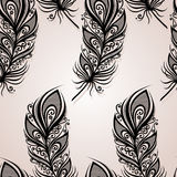 Seamless Pattern with Feathers Stock Images