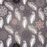 Seamless Pattern with Feathers Royalty Free Stock Photo