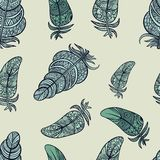 Seamless pattern of Feathers. Vector illustration. Stock Photography
