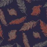 Seamless Pattern with Feathers. Vintage Artistically hand drawn Royalty Free Stock Photos