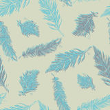 Seamless Pattern with Feathers. Vintage Artistically hand drawn Stock Images