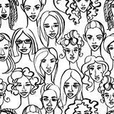 Seamless pattern of female doodle hand drawn portraits. Black an Royalty Free Stock Photos