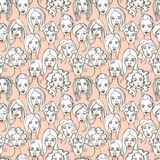 Seamless pattern of female doodle hand drawn portraits. Pink, gr Stock Photos