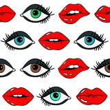 Seamless Pattern Of Female Eyes And Red Sexy Lips. Stock Photography