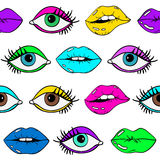 Seamless Pattern Of Female Eyes And Sexy Lips. Colorful cartoon seamless pattern of sexy glamour female lips with lipstick and eyes on a white background Royalty Free Stock Photo