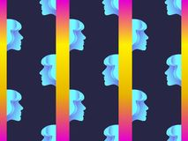 Seamless pattern of female faces with gradient. Zine culture colorful background. Futurism retrowave. Vector. Illustration stock illustration