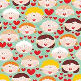 Seamless pattern with female faces and hearts. Stock Photography