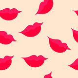 Seamless pattern of female lips with a slight smile Stock Image