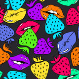 Seamless Pattern Of Female Lips And Strawberry. Colorful seamless pattern with sexy female lips and strawberry on a dark grey background Royalty Free Stock Images