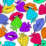 Seamless Pattern Of Female Lips And Strawberry. Colorful seamless pattern with sexy female lips and strawberry on a white background Stock Image