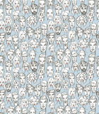 Seamless pattern of female and male doodle hand drawn portraits. Stock Images