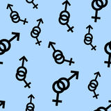 Seamless pattern of female and male romantic collection. Female and male black signs different sizes. Pattern on blue background. Stock Image