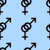 Seamless pattern of female and male romantic collection. Female and male black signs. Pattern on blue background. Vector illustrat Stock Image