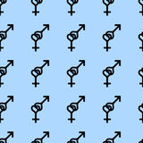 Seamless pattern. Female and male romantic collection. Female and male small black heart signs same sizes. Pattern on blue backgro Royalty Free Stock Image