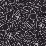 Seamless pattern with female objects. Cosmetics shoes bags flowers. Mascara eye pencil lipstick cream tube shadows brushes. Vector illustration Royalty Free Stock Photo