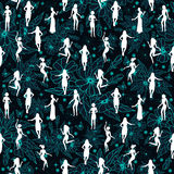 Seamless pattern with female silhouettes Stock Image