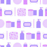 Seamless pattern with feminine hygiene products. Stock Photos