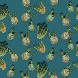 Seamless pattern with fennel. Seamless pattern with fennel on blue background. Vector illustration. Typography design elements for prints, cards, posters Stock Photo