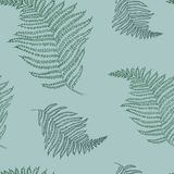 Seamless pattern with fern. Bright hawaiian design with tropical plants. vector illustration