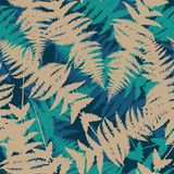 Seamless pattern of fern leaves. Vector. Illustration of jungle nature design. Beige and blue colors Stock Image