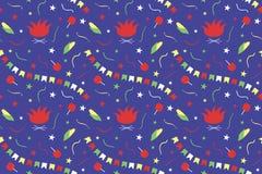 Seamless pattern for Festa Junina. Brazil June Festival. Bonfires, garlands of flags, serpentine, stars, corn, apples in caramel o stock illustration