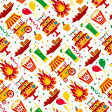 Seamless pattern of festa Junina village festival in Latin Ameri Stock Image