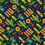 Seamless pattern of festa Junina village festival in Latin Ameri Royalty Free Stock Photos