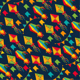 Seamless pattern of festa Junina village festival in Latin Ameri. Ca. Icons set in bright color. Flat style decoration Stock Photography