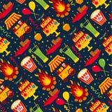 Seamless pattern of festa Junina village festival in Latin Ameri. Ca. Icons set in bright color. Flat style decoration Stock Photos