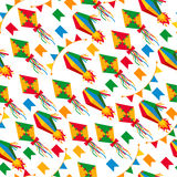 Seamless pattern of festa Junina village festival in Latin Ameri. Ca. Icons set in bright color. Flat style decoration Royalty Free Stock Photos