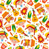 Seamless pattern of festa Junina village festival in Latin Ameri. Ca. Icons set in bright color. Flat style decoration Stock Photo