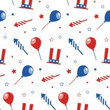 Seamless pattern with festive attributes. USA Independence Day. 4th of July. Vector wallpaper Stock Images