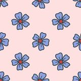 Seamless pattern with field flowers drawn in the style of hand drawn. Colorful illustration. Vector EPS10 vector illustration