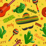 Seamless pattern Fiesta party with mexican guitar, maracas, sombrero, mustache and cactuses. Royalty Free Stock Photos