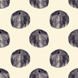Seamless pattern with figs drawn by hand with pencil Royalty Free Stock Photos