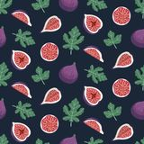 Seamless pattern with figs and leaves on a dark blue background. Design for wallpaper, fabric, decor, textile. Vector backdrop Stock Photos