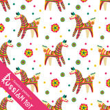Seamless pattern. Filimonovo toy penny whistle horse. Vector toy horse with pattern in national Russian Filimonovo  ornament isolated on white background Royalty Free Stock Photography