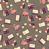Seamless pattern with finance, accounting and auditing icons. Business economic illustration Stock Images