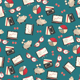 Seamless pattern with finance, accounting and auditing icons. Business economic illustration Royalty Free Stock Images