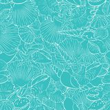 Seamless pattern of fine sea shells Royalty Free Stock Images