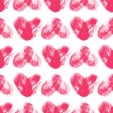 Seamless pattern with fingerprint hearts. Hand drawn heart shapes with rough edges. Trendy texture. Endless stylish backdrop. Pink thumbprint hearts on white Royalty Free Stock Photos