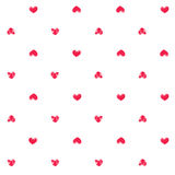 Seamless pattern with fingerprint hearts. Hand drawn textured objects with rough edges. Pink thumbprint shapes on white background. Endless trendy backdrop for Stock Image