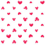 Seamless pattern with fingerprint hearts. Hand drawn textured shapes with rough edges. Pink different sizes thumbprints on white background. Endless trendy Stock Photography