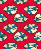 Seamless pattern Finland. Vector illustration seamless pattern of the national flag on female lips Stock Image