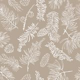 Seamless pattern with fir branches. Christmas and New Year background. Vector illustration Royalty Free Stock Photography
