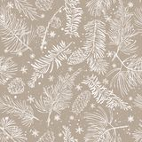 Seamless pattern with fir branches. Christmas and New Year background. vector illustration