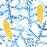 Seamless pattern of fir branches and cones. Spruce branches and cones are hand-drawn on a blue background. Contour vector image Royalty Free Stock Image